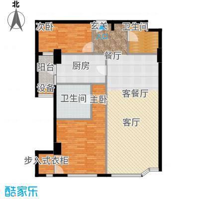 建国国际公寓127.71㎡2室2厅2卫户型
