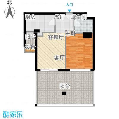 建国国际公寓74.75㎡1室1厅1卫户型