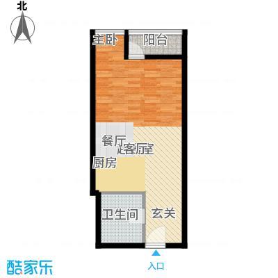 元嘉国际公寓(钛度)50.61㎡一居户型
