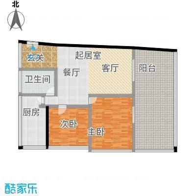 C-PARK西派国际公寓141.31㎡4号楼M户型二室二厅一卫户型