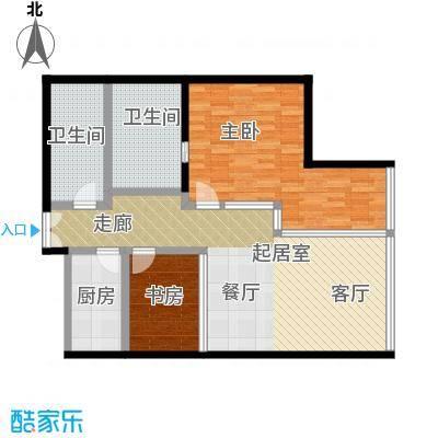 C-PARK西派国际公寓147.00㎡4号楼F户型二室二厅二卫户型