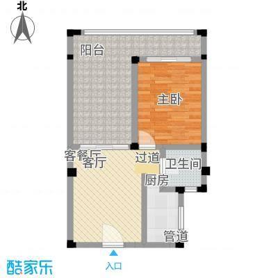 山泉海22#楼一单元108室户型 1室1厅1卫1厨62.81㎡户型1室1厅1卫