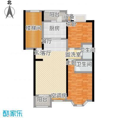 怡美家园113.50㎡两室两厅两卫户型