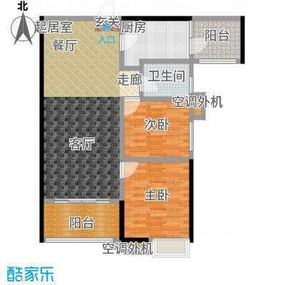 易景凯旋城88.10㎡1单元户型图 两房两厅一卫 建筑面积:88.10㎡-88.55㎡户型2室2厅1卫