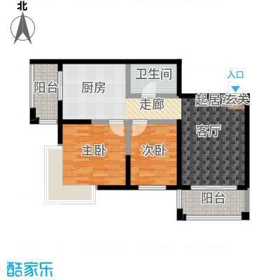 漫步巴黎参考使用面积61.41平户型2室1厅1卫