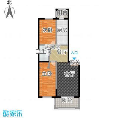 漫步巴黎参考使用面积76.36平户型2室2厅1卫