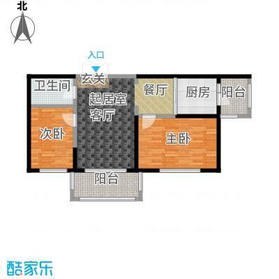 漫步巴黎参考使用面积66.18平户型3室1厅2卫