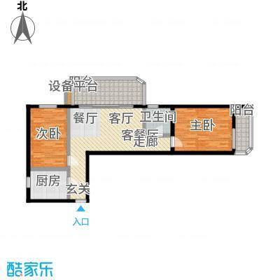 健翔园86.10㎡两室一厅一卫户型