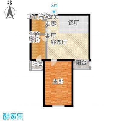 鑫德嘉园91.30㎡一室两厅一卫户型