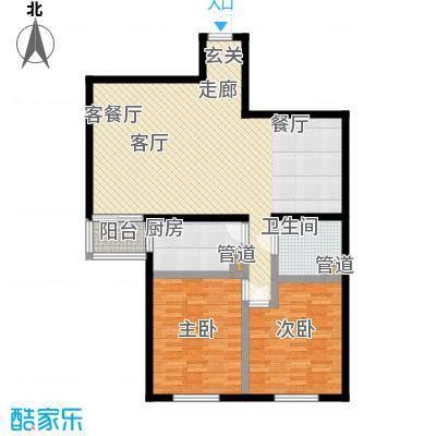 鑫德嘉园106.31㎡二居室户型