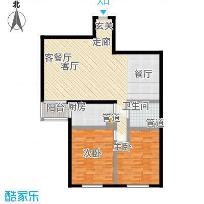 鑫德嘉园106.30㎡两室两厅一卫 户型