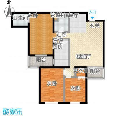 鑫德嘉园127.80㎡三室两厅两卫户型
