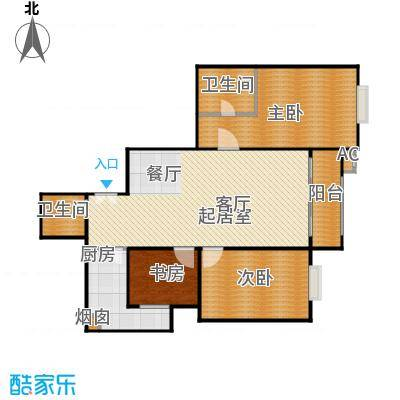 沁春家园116.34㎡三期B反户型3室2厅2卫户型