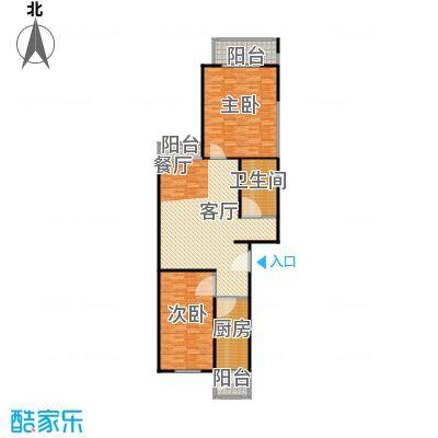 沁春家园129.08㎡三室二厅二卫户型