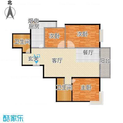 沁春家园120.17㎡三期E户型3室2厅2卫户型