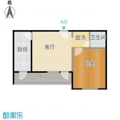 兴都苑(水榭楼台)56.00㎡一室一厅一卫户型