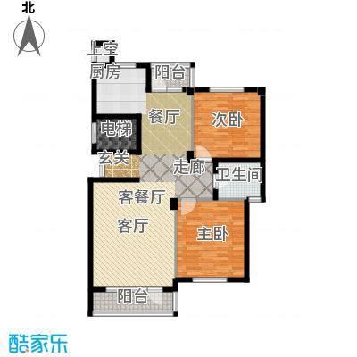 富士庄园三期105.69㎡二房二厅一卫户型