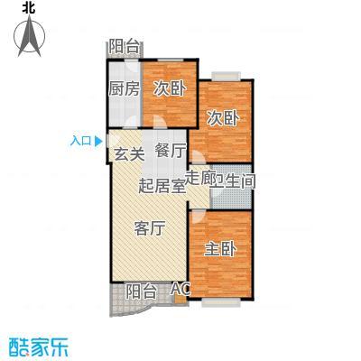 幻星家园121.47㎡三室二厅一卫户型