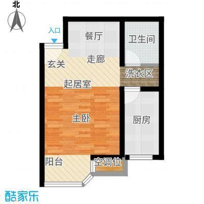 灵秀山庄(水语自然)45.20㎡1室2厅1卫1厨户型