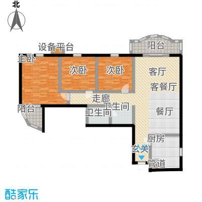 燕景佳园126.69㎡三室一厅一卫户型