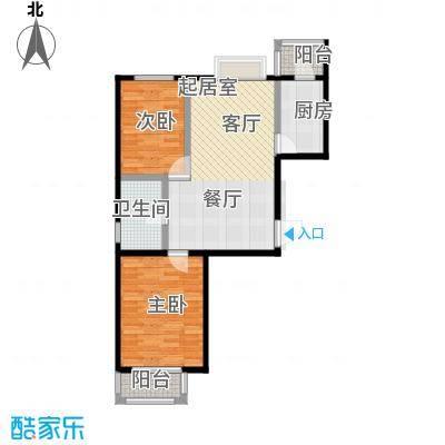 艺苑・桐城91.38㎡F1户型两室两厅一卫户型2室2厅1卫