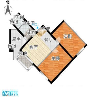 泰华滨河苑94.00㎡1号楼06两室一厅一卫户型