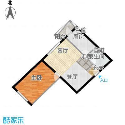 泰华滨河苑77.00㎡1号楼02一室一厅一卫户型