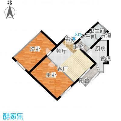 泰华滨河苑94.00㎡1号楼03两室一厅一卫户型