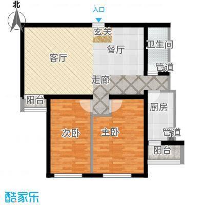 泰华滨河苑107.00㎡1号楼05两室两厅一卫户型