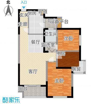 润泽东都104.00㎡D户型 三室两厅一卫户型3室2厅1卫