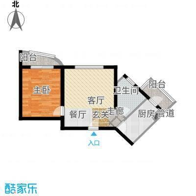 泰华滨河苑71.00㎡1号楼08一室一厅一卫户型