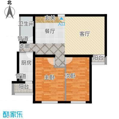 泰华滨河苑107.00㎡1号楼04两室两厅一卫户型