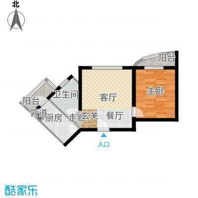 泰华滨河苑71.00㎡1号楼01一室一厅一卫户型