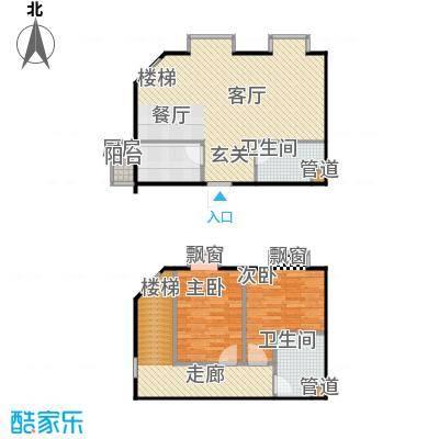 巧克力城106.20㎡两室两厅户型