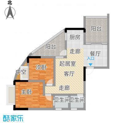 漓江蓝湾96.05㎡6#B1户型图户型2室2厅2卫