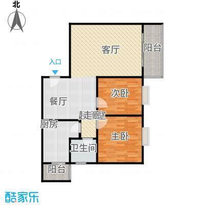 水岸新城2房2厅1卫(J3)户型