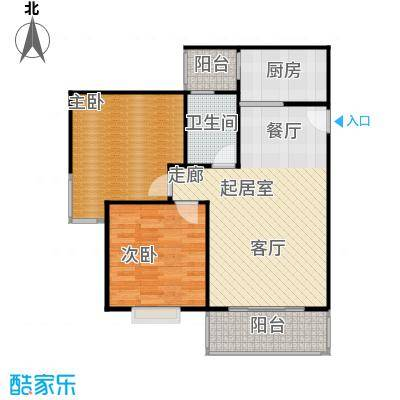 水岸新城2房2厅1卫(B)户型