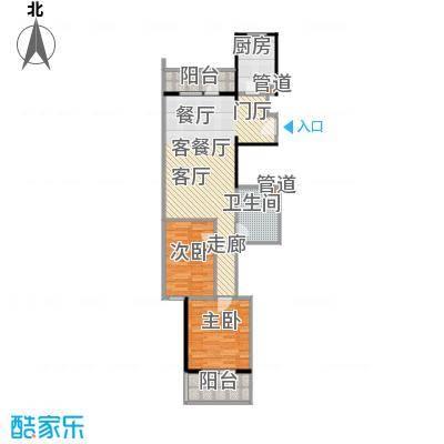悦园(悦莱苑)1-E户型二室二厅一卫户型