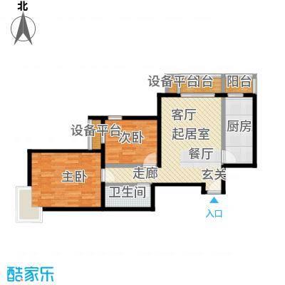 梵谷水郡(ZAMA三期)F户型两室两厅一卫户型