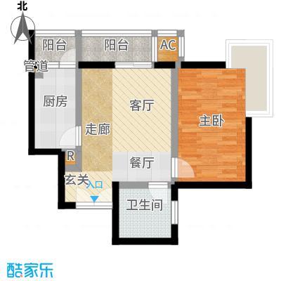 北苑近邻65.27㎡D5一室一厅一卫户型