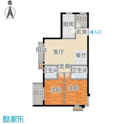 国风北京114.00㎡E1户型两室两厅两卫户型LL