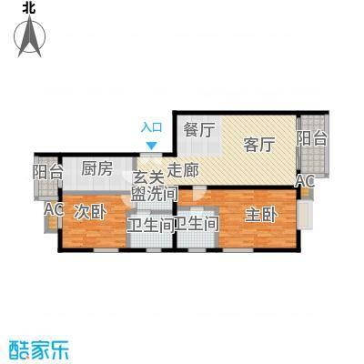 国风北京117.00㎡A户型两室两厅两卫户型LL
