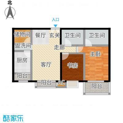国风北京104.00㎡D2户型两室两厅三卫户型LL
