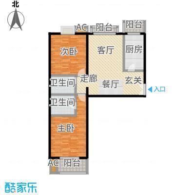 国风北京121.00㎡C1户型两室两厅两卫户型LL
