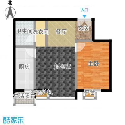 桐城国际65.00㎡D1-D单元02一室二厅一卫户型