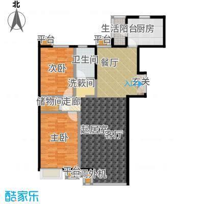 桐城国际120.00㎡D2-D单元03二室二厅一卫户型