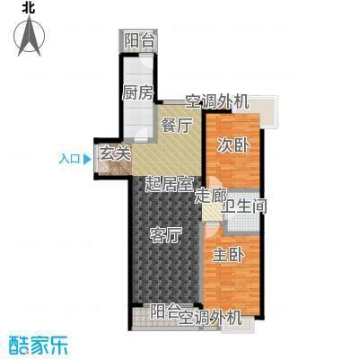 桐城国际120.00㎡E2楼F单元01二室二厅一卫户型