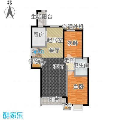 桐城国际124.00㎡D2楼D单元01二室二厅一卫户型