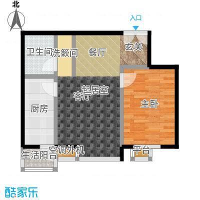 桐城国际65.00㎡D2一室二厅一卫户型