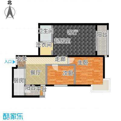 桐城国际二期C户型二室二厅一卫户型